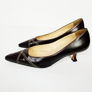 MANOLO BLAHNIK Brown Leather Kitten Heel Pumps 36